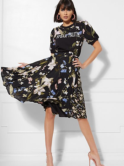 7th Avenue - Black Floral Pleated Wrap Skirt - New York & Company