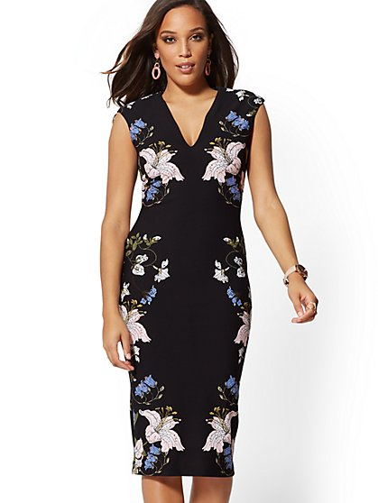 7th Avenue - Black Floral V-Neck Sheath Dress - New York & Company