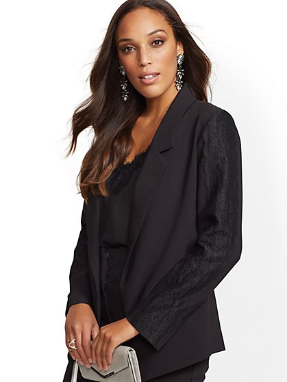7th Avenue - Black Lace-Trim Blazer - New York & Company