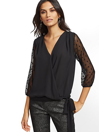 7th Avenue -Black Mesh-Accent Wrap Top - New York & Company
