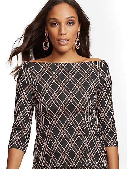 7th Avenue - Black Metallic Off-The-Shoulder Top - New York & Company