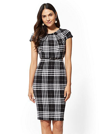 7th Avenue - Black Plaid Sheath Dress - New York & Company