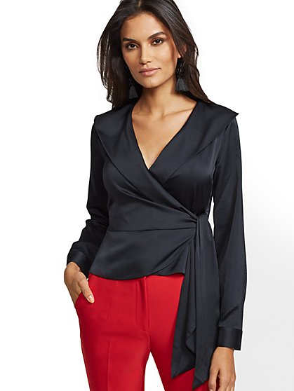 7th Avenue -Black Shawl-Collar Blouse - New York & Company