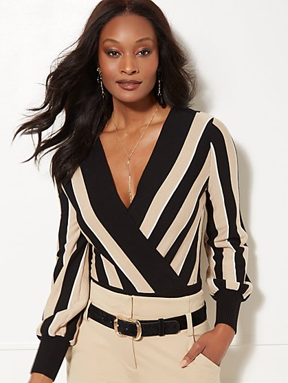 7th Avenue - Black Stripe Wrap Sweater - New York & Company