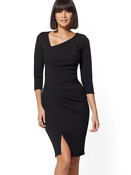 7th Avenue - Black V-Neck Sheath Dress - New York & Company