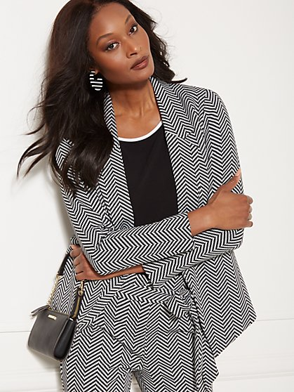 7th Avenue - Black & White Chevron Madie Soft Blazer - New York & Company