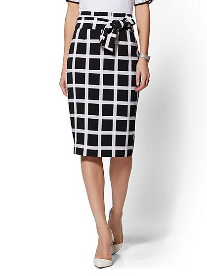 7th Avenue - Black & White Plaid Paperbag-Waist Pencil Skirt - New York & Company