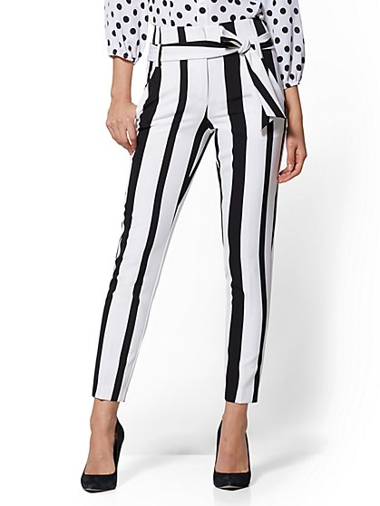 7th Avenue - Black & White Stripe Madie Pant - New York & Company