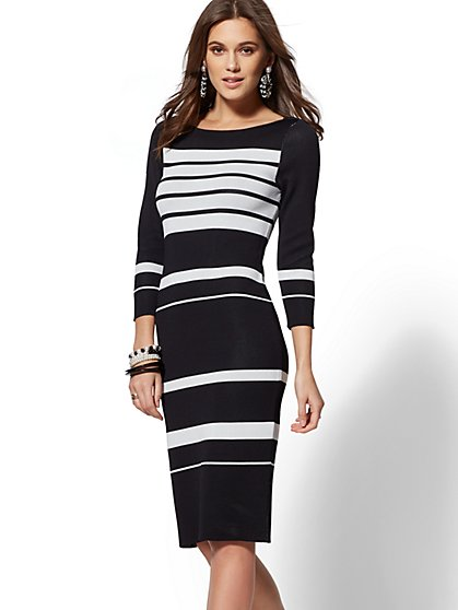 7th Avenue - Black & White Stripe Sweater Dress - New York & Company