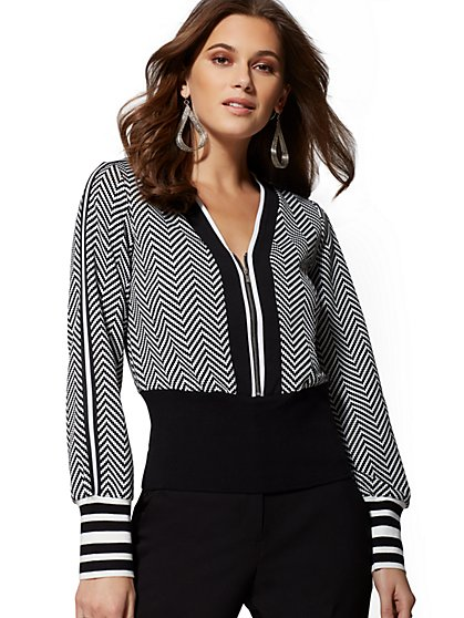 7th Avenue - Black & White Zip-Front Jacket - New York & Company