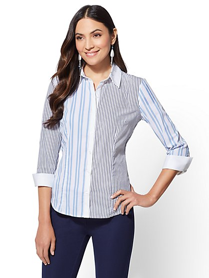 7th Avenue - Blue Mixed-Stripe Madison Stripe Madison Stretch Shirt - New York & Company