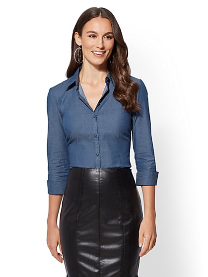 7th Avenue - Blue Petite 3/4-Sleeve Madison Stretch Shirt - New York & Company
