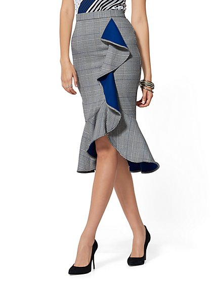 7th Avenue - Blue Plaid Ruffled Pencil Skirt - New York & Company