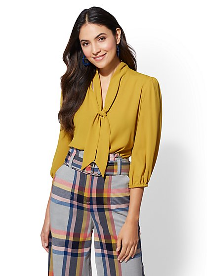 7th Avenue - Bow-Accent Twist-Front Blouse - New York & Company