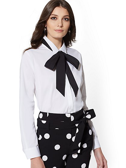 7th Avenue - Bow-Accent White Shirt - New York & Company