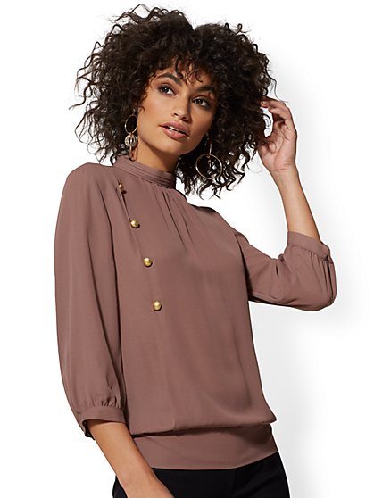 7th Avenue - Button-Accent Mock-Neck Blouse - New York & Company