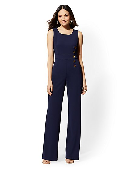 7th Avenue - Button-Accent Scuba-Crepe Jumpsuit - Magic Crepe - New York & Company