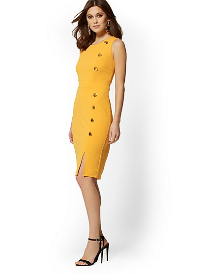 7th Avenue - Button-Accent Sheath Dress - Magic Crepe - New York & Company