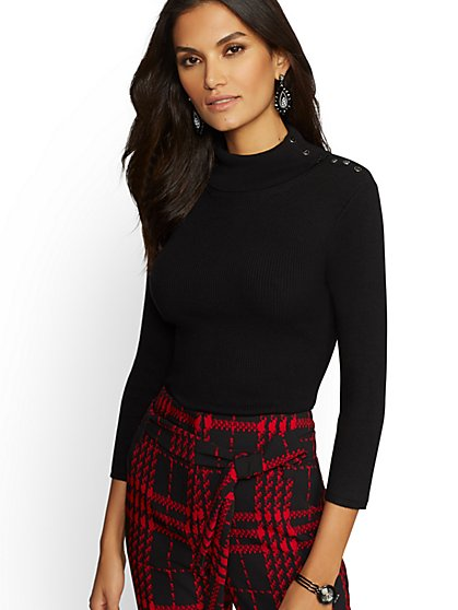 7th Avenue - Button-Accent Turtleneck Sweater - New York & Company