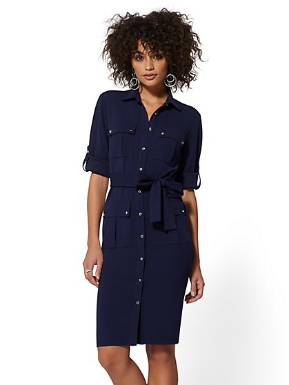 7th Avenue - Button-Front Belted Shirtdress - Magic Crepe - New York & Company