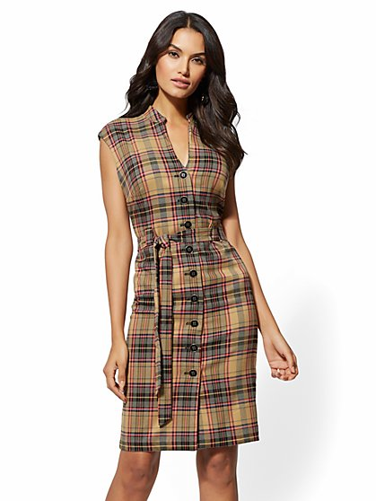 7th Avenue - Camel Plaid Belted Sheath Dress - New York & Company
