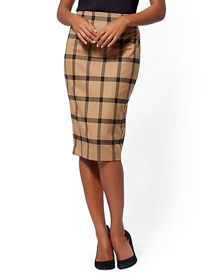 7th Avenue - Camel Plaid Pencil Skirt - New York & Company