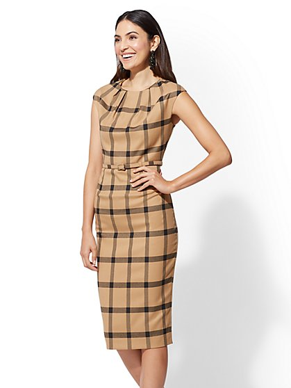 7th Avenue - Camel Plaid Sheath Dress - New York & Company