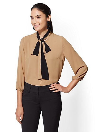 7th Avenue - Colorblock Bow Blouse - New York & Company
