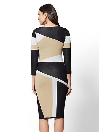 7th Avenue Colorblock Sheath Sweater Dress New York Company