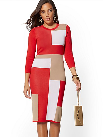 7th Avenue - Colorblock Sweater Sheath Dress - New York & Company