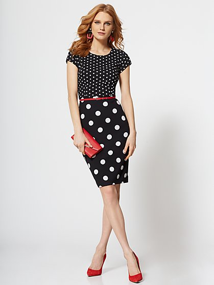 7th Avenue - Dot-Print Belted Sheath Dress - Magic Crepe - New York & Company