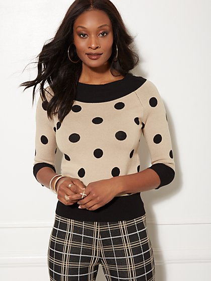 7th Avenue - Dot-Print Off-The-Shoulder Sweater - New York & Company