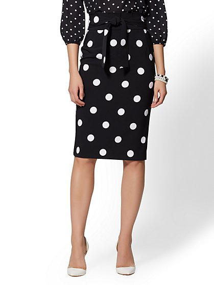 7th Avenue - Dot-Print Paperbag-Waist Pencil Skirt - New York & Company