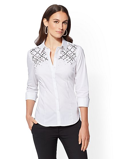 7th Avenue - Embellished Madison Stretch Shirt - New York & Company