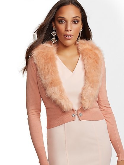 7th Avenue - Faux-Fur Collar Chelsea Cardigan - New York & Company