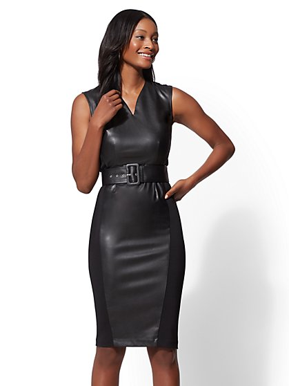 7th Avenue - Faux-Leather Sheath Dress - New York & Company