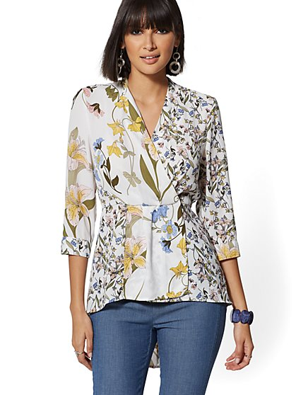 7th Avenue - Floral Hi-Lo V-Neck Wrap Blouse - New York & Company