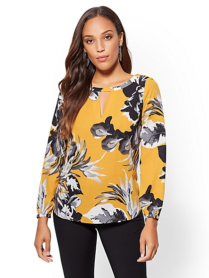 7th Avenue - Floral Keyhole Blouse - New York & Company