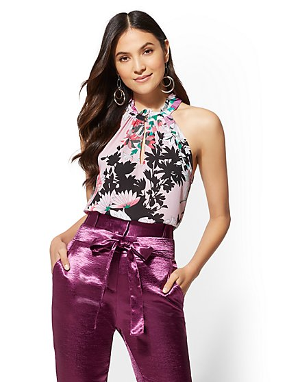 7th Avenue - Floral Ruffled Halter Blouse - New York & Company