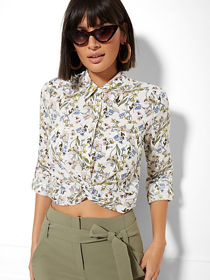7th Avenue - Floral Twist-Front Crop Shirt - New York & Company