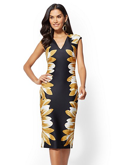 7th Avenue - Floral V-Neck Sheath Dress - New York & Company