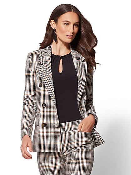 7th Avenue - Gold Plaid Double-Breasted Jacket - New York & Company