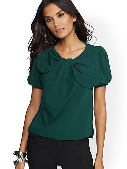 7th Avenue - Green Bow-Accent Top - New York & Company