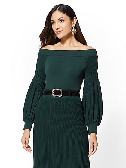 7th Avenue - Green Off-The-Shoulder Sweater - New York & Company