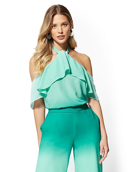 7th Avenue - Green Tiered Halter Blouse - New York & Company
