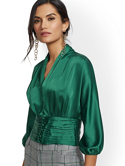 7th Avenue - Green V-Neck Shirred Blouse - New York & Company