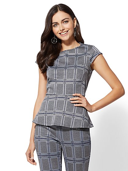 7th Avenue - Grey Cap-Sleeve Peplum Top - New York & Company