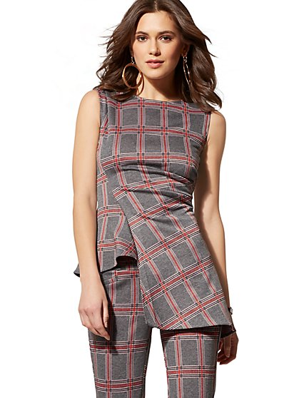 7th Avenue - Grey Plaid Asymmetrical Top - New York & Company