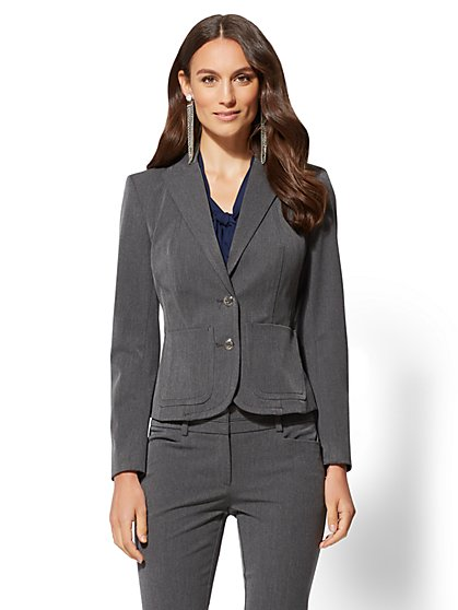 7th Avenue - Grey Two-Button Jacket - New York & Company