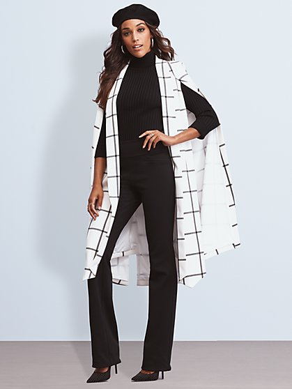 7th Avenue - Ivory Plaid Cape Jacket - New York & Company